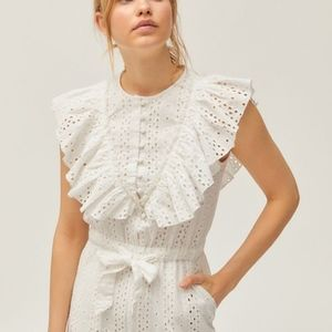 Urban Outfitters Pants - UO Magnolia Eyelet Ruffle White Jumpsuit S /mq